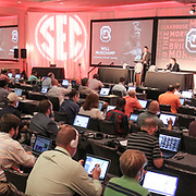 Muschamp speaks to over a hundred media members. ©Travis Bell Photography