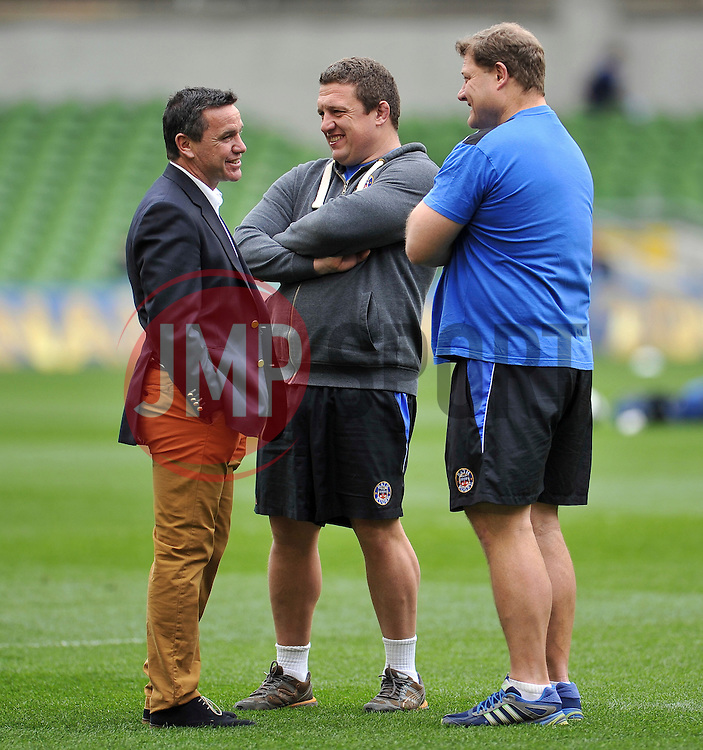 Bath Rugby Head Coach Mike Ford and First Team Coaches Toby Booth and Neal Hatley share a joke during the pre-match warm-up - Photo mandatory by-line: Patrick Khachfe/JMP - Mobile: 07966 386802 04/04/2015 - SPORT - RUGBY UNION - Dublin - Aviva Stadium - Leinster Rugby v Bath Rugby - European Rugby Champions Cup
