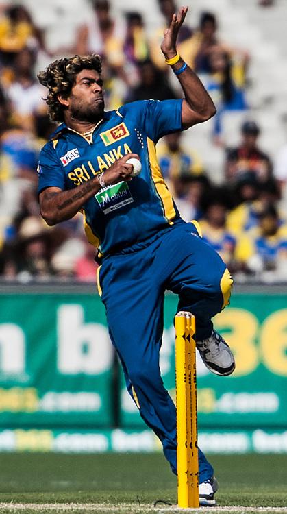 Lasith Malinga bowling during game 1 of the Commonwealth Bank Series Australia v Sri Lanka played at the Melbourne Cricket Ground in Melbourne,Victoria, Australia. Photo Asanka Brendon Ratnayake