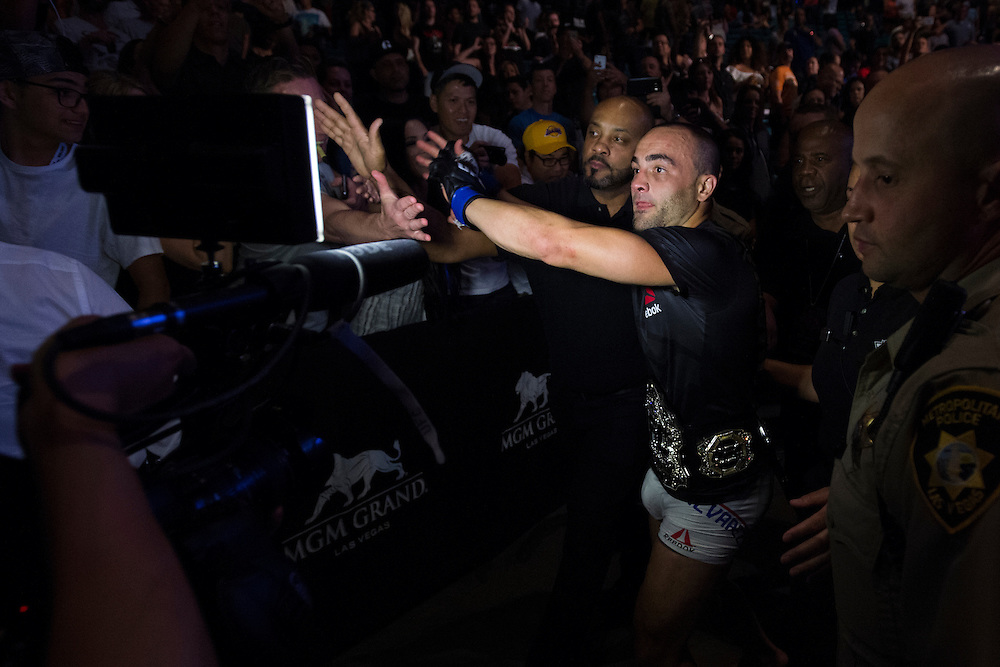 LAS VEGAS, NV - JULY 7:  Eddie Alvarez celebrates in his locker room after defeating Rafael dos Anos and becoming the UFC lightweight champion during UFC Fight Night at MGM Grand Garden Arena on July 7, 2016 in Las Vegas, Nevada. (Photo by Cooper Neill/Zuffa LLC/Zuffa LLC via Getty Images) *** Local Caption *** Eddie Alvarez