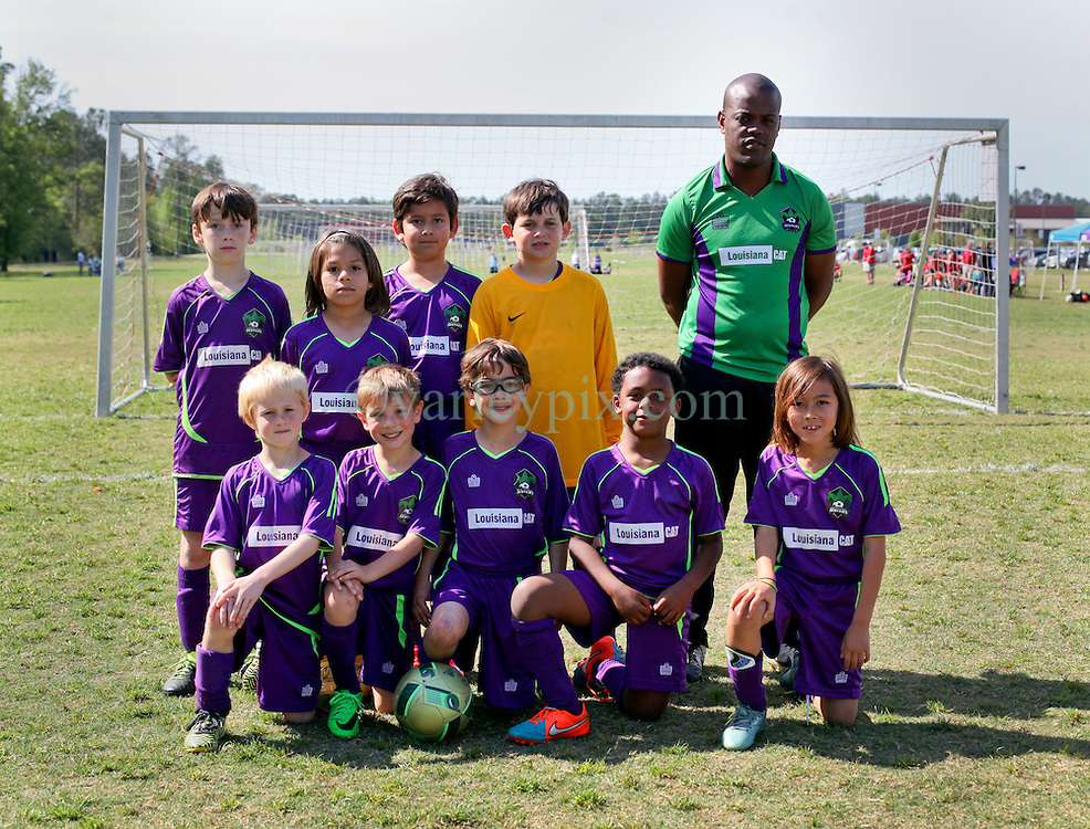 09 April 2016. Hammond, Louisiana.<br /> South Tangi Youth Soccer Association (STYSA), Chappapeela Sports Complex, 30th Annual Strawberry Cup,  <br /> New Orleans Jesters Youth Academy U9 team Green. <br /> Photo&copy;; Charlie Varley/varleypix.com