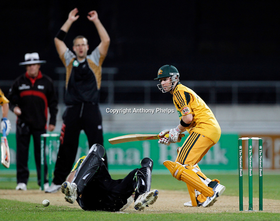 Nathan McCullum drops Michael Clarke New Zealand v Australia Twenty20 cricket match. Westpac Stadium, Wellington. Friday 26 February 2010. Photo: Anthony Phelps/PHOTOSPORT