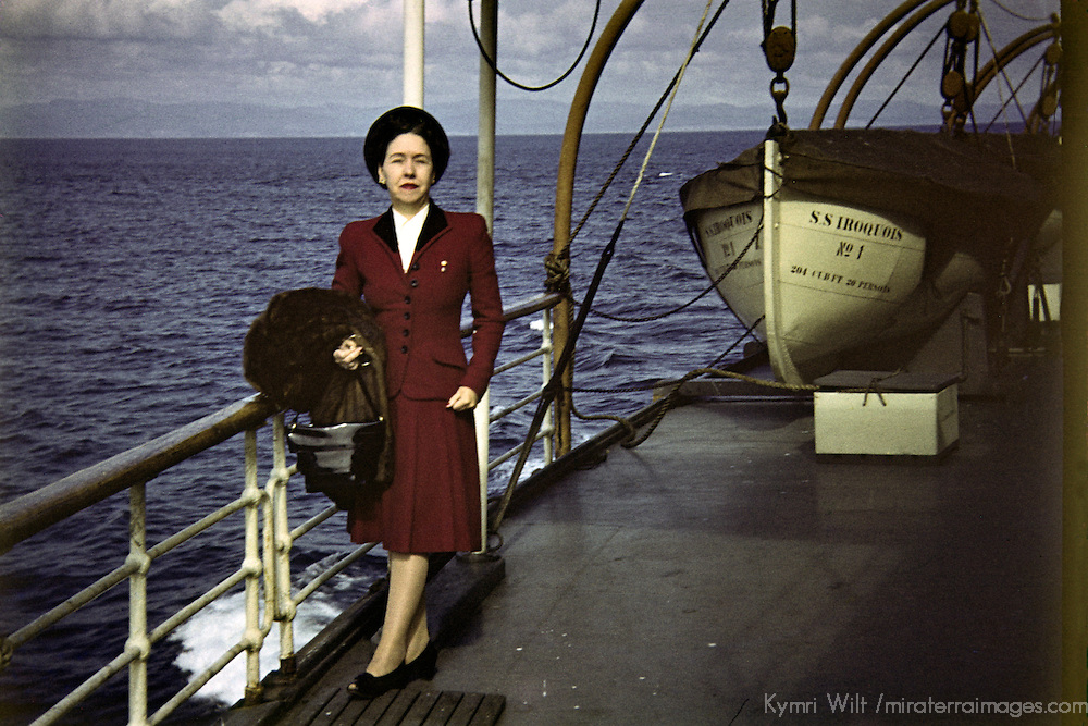 Vintage slide scan of a woman aboard a cruiseship, circa 1947.
