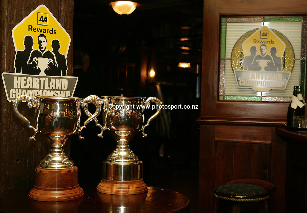 The Lochore Cup and the Meads Cup at the launch of the AA Rewards Heartland Championship at the Muddy Farmer Pub, Auckland, New Zealand on Friday 18 August, 2006. Photo: Hannah Johnston/PHOTOSPORT<br /><br /><br /><br /><br />180806