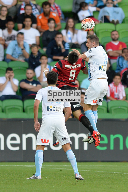 Paulo Retre of Melbourne City, Federico Piovaccari of Western Sydney Wanderers FC, Aaron Hughes of Melbourne City - Hyundai A-League, January 9th 2016, RD14 match between Melbourne City FC v Western Sydney Wanderers FC at Aami Park in a 3:2 win to City. Melbourne, Australia. © Mark Avellino | SportPix.org.uk