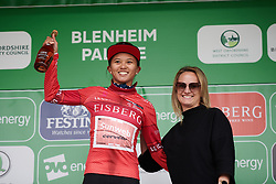 Coryn Rivera (USA) leads the sprint classification at Stage 3 of 2019 OVO Women's Tour, a 145.1 km road race from Henley-on-Thames to Blenheim Palace, United Kingdom on June 12, 2019. Photo by Sean Robinson/velofocus.com