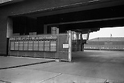 08/04/1963<br /> 04/08/1963<br /> 08 April 1963<br /> Bus strike in Dublin. Deserted bus station at Bus Aras at Store Street, Dublin.