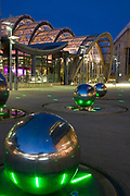 Winter Gardens & Millenium Square at Night, with Spheres of Rain Sculpture by Colin Rose, Sheffield City Centre