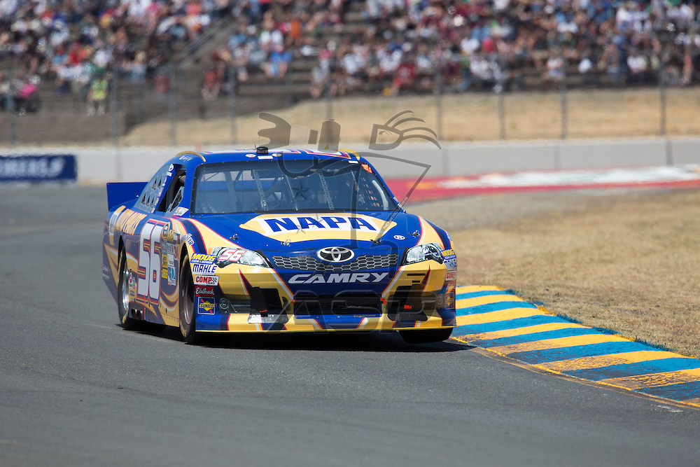 SONOMA, CA - JUN 24, 2012: Martin Truex, Jr. (56) brings his car through the turns during the Toyota Save Mart 350 at the Raceway at Sonoma in Sonoma, CA.