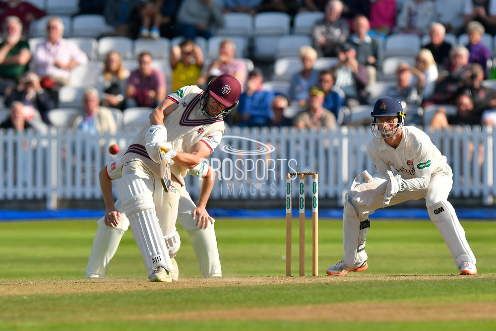 Wicket and tied match - Jack Leach of Somerset holes out to Tom Bailey of Lancashire off the bowling of Keshav Maharaj of Lancashire during the Specsavers County Champ Div 1 match between Somerset County Cricket Club and Lancashire County Cricket Club at the Cooper Associates County Ground, Taunton, United Kingdom on 5 September 2018.