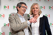 2013/01/24 Roma, il PD presenta i candidati alle politiche provenienti dal mondo dello sport. Nella foto Filippo Fossati e Josefa Idem..Democratic Party presents its candidates coming from sports world. In the picture Filippo Fossati and Josefa Idem.