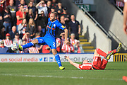 Ryan McLaughlin wins the ball during the EFL Sky Bet League 1 match between Rochdale and Sunderland at Spotland, Rochdale, England on 6 April 2019.