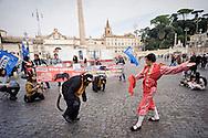 Roma 26 Ottobre  2015<br /> Manifestazione anticorrida, degli Animalisti italiani contro le corride che si tengono in Spagna e per protestare contro i finanziamenti europei che vengono erogati  agli allevamenti  dei tori destinati alle corride.  Rappresentazione degli attivisti di Animalisti Italiani che hanno messo in scena una corrida.<br /> Rome October 26th 2015<br /> Demonstration anti bullfight, of the I Italian Onlus Association Animalists against the bullfights that are held in Spain and to protest against the European funds that are delivered to  farms of bulls intended for bullfighting. Representation Animal rights activists, who have staged  a bullfight.