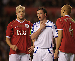 Manchester, England - Tuesday, March 13, 2007: Manchester United's Alan Smith and Europe XI's Robbie 'God' Fowler during the UEFA Celebration Match at Old Trafford. (Pic by David Rawcliffe/Propaganda)