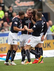 Falkirk's Craig Sibbald cele scoring their goal. half time : Falkirk 1 v 1 Hibernian, the first Scottish Championship game of season 2016/17, played 6/8/2016 at The Falkirk Stadium.