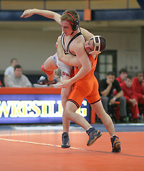 Anthony Burke (UVA) takes down Ohio State's Nathan Costello in the 125lb. match.   Burke won the match, but the Buckeyes beat the Wahoos 28-11 in the meet at Mem Gym.
