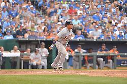 Sep 20, 2014; Kansas City, MO, USA; Detroit Tigers first baseman Miguel Cabrera (24) at bat late in the game against the Kansas City Royals at Kauffman Stadium. Detroit won 3-2. Mandatory Credit: Denny Medley-USA TODAY Sports