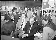 Image of Fianna Fáil leader Charles Haughey touring West Cork during his 1982 election campaign...04/02/1982.02/04/82.4th February 1982..Meeting the press:..Charles Haughey loking serious as he fields questions from journalists..while supporters gather behind him.