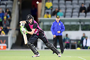 Amy Satterthwaite hits in to the off side. Women's T20 international Cricket, Australia v New Zealand White Ferns.  Manuka Oval, Canberra, 5 October 2018. Copyright Image: David Neilson / www.photosport.nz