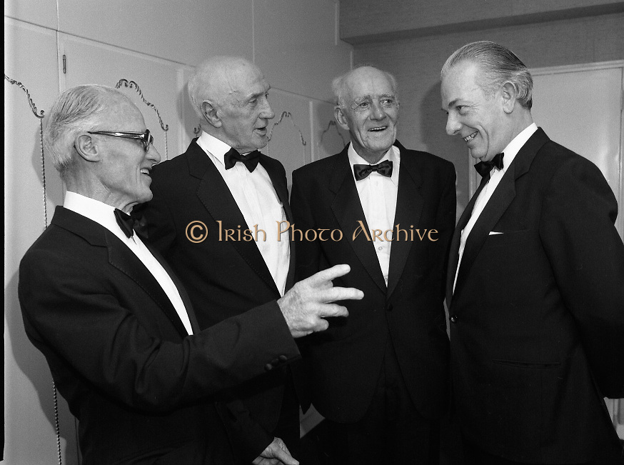 Bank Of Ireland GAA Hurling Allstars..1986..31.01.1986..01.31.1986..31st January 1986..To celebrate their achievements on the field of hurling the following players were recognised by the GAA and Bank of Ireland:.Pat Delaney,Offaly.Seamus Coen, Galway.Sylvie Linnane,Galway.Ger Coughlan,Offaly.Liam Fennelly,Kilkenny.Nicholas English,Tipperary.John Fenton,Cork.Pat Cleary,Offaly.Ger Cunningham,Cork.Padraig Horan,Offaly.Joe Cooney,Galway.Brendan Lynsky,Galway.Eugene Coughlan,Offaly.Pat Critchly,Laois.Peter Finnerty,Offaly...Inducted into the Hall of Fame were Tim Landers and John Joe Landers for football and Frank O'Rourke for hurling.The awards ceremony took place in The Burlington Hotel, Dublin...Photograph of Tim Landers,John Joe Landers, Eugene Coughlan and Frank O'Rourke,Managing Director,Bank Of Ireland.