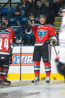 KELOWNA, CANADA, NOVEMBER 9: Madison Bowey #4 of the Kelowna Rockets celebrates a goal as the Red Deer Rebels visit the Kelowna Rockets  on November 9, 2011 at Prospera Place in Kelowna, British Columbia, Canada (Photo by Marissa Baecker/Shoot the Breeze) *** Local Caption ***