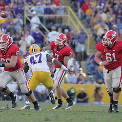 25 October 2008: Clint Boling (60) and Ben Jones (61) of Georgia run to block up field during the Georgia Bulldogs 52-38 victory over the LSU Tigers at Tiger Stadium in Baton Rouge, LA.