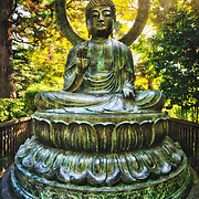 Photo of a giant Buddha in the Japanese Tea Garden at Golden Gate Park in San Francisco, CA. Created in 1894, this five acre tea garden is the oldest in the United States.