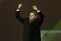 Photo: Leigh Quinnell.<br /> Watford v Stoke City. Coca Cola Championship.<br /> 14/01/2006. Watford manager Aidy Boothroyd celebrates at the end of the game.