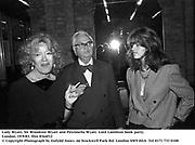 Lady Wyatt, Sir Woodrow Wyatt and Petronella Wyatt. Lord Lambton book party. London. 19/9/83. film 8364f12<br />© Copyright Photograph by Dafydd Jones<br />66 Stockwell Park Rd. London SW9 0DA<br />Tel 0171 733 0108