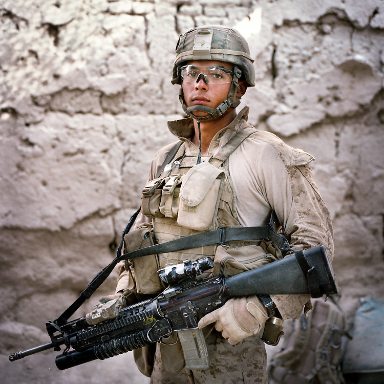 Location:<br /> Patrol Base Fires, Sangin District, Helmand Province, Afghanistan<br /> <br /> Unit: <br /> 3rd Squad, 1st Platoon, Bravo Company, 1st Battalion, 5th Marines<br /> <br /> Name and Rank: Corporal Manuel &quot;Dozer&quot; Mendoza<br /> <br /> Age: 20<br /> <br /> Hometown: Weslaco, Texas<br /> <br /> Why did you join the Marine Corps?<br /> <br /> &quot;I joined the Marine Corps because I&rsquo;ll never forget September 11th . . .  I love my country, I&rsquo;m a patriot straight up, even though I&rsquo;m Mexican. I feel like I got a debt to the United States because I have such a great life back at home. I have my family, I had a good education, you know? So I felt like I gotta pay that debt.&quot;<br /> <br /> <br /> What did you expect from Afghanistan?<br /> <br /> &quot;I did expect the whole death thing. Blood . . . I wasn't expecting the blood, bones dangling everywhere, I wasn't expecting that. I was hoping I wouldn't have to see that.&quot;<br /> <br /> Why do you think the Taliban are fighting?<br /> <br /> &quot;What I think about the Taliban, I think they're just misled. They don't know what they're fighting for, most of them. They're forced to believe in things they don't understand. They are ruthless, but only because they're forced to. They're evil men though, 'cause they don't stand up for themselves. THey don't stand up for what's right, and war is not right. Beating women and children, beating helpless civilians, that's not right.&quot;<br /> <br /> &quot;All they use is fear. They make the people fear them, and that's where they gain their power. The power is with the people, so that's why the whole counterinsurgency thing is good, it's good to do it. Because the people are the key to Afghanistan, whether we like it or not, it is what it is. The people are the key to Afghanistan, and that's what a lot of coalition forces don't really understand.&quot;<br /> <br /> &quot;They try to drill it into our heads. But once we start getting hurt, start taking casualties, with all the casualties, everybody starts forgetting about the people and just starts worrying about their brothers in arms.&quot;<br /> <br /> What are the Marines fighting for?<br /> <br /> &quot;We are trained to do the whole count