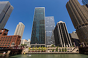 Skyline view from the Riverwalk on the Chicago River in Chicago, Illinois, USA