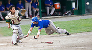 MIDDLETOWN, CT - 05 AUGUST 2010 -.East Longmeadow Post 293's #5 Kyle DiFranco scores the team's second run behind Warwick, RI's New England Frozen Lemonade's catcher Nicholas Savage during Thursday's American Legion Northeast Regional Tournament game at Palmer Field in Middletown..Photo by Josalee Thrift