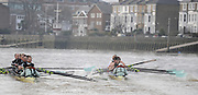 Putney, GREAT BRITAIN,  Looks Stroke Silas STAFFORD struggles to get his oar back into the gate, as the crews clash, during the 2008 Varsity/Cambridge University Trial Eights, raced over the championship course. Putney to Mortlake, Tue. 16.12.2008. [Mandatory Credit, Peter Spurrier/Intersport-images..Crew Personality. Bow Dan SHAUGHNESSY, 2. Shane O'MARA, 3. John CLAY, 4. Ryan MONAGHAN, 5. Fred GILL, 6. Deaglan McEACHERN, 7. Hardy CUTBASCH, stroke,. Rob WEITEMAYER and cox Rebecca DOWBIGGIN...Crew Looks;.Bow James STRAWSON. 2. Joel JENNINGS, 3. Code STERNAL, 4 Peter MARSLAND, 5. George NASH, 6. Henry PELLY, 7. Tom RANSLEY, stroke Silas STAFFORD and Cox Helen HODGES.. Varsity Boat Race, Rowing Course: River Thames, Championship course, Putney to Mortlake 4.25 Miles,