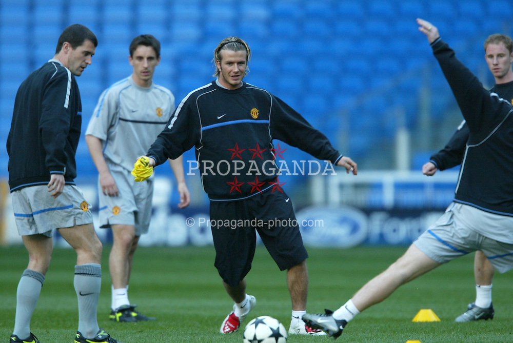 MADRID, SPAIN - Monday, April 7, 2003: Manchester United's David Beckham training at the Santiago Bernabeau ahead of his side's Champions League Quarter Final 1st Leg match with Real Madrid. (Pic by David Rawcliffe/Propaganda)
