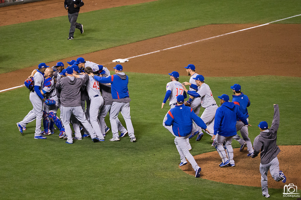 The Chicago Cubs celebrate after beating the San Francisco Giants during Game 4 of the NLDS, clenching a spot in the NLCS, at AT&T Park in San Francisco, Calif., on October 11, 2016. (Stan Olszewski/Special to S.F. Examiner)