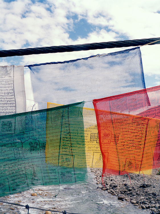 Prayer flags over the Paro River.