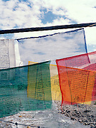 Prayer flags over the Paro River.