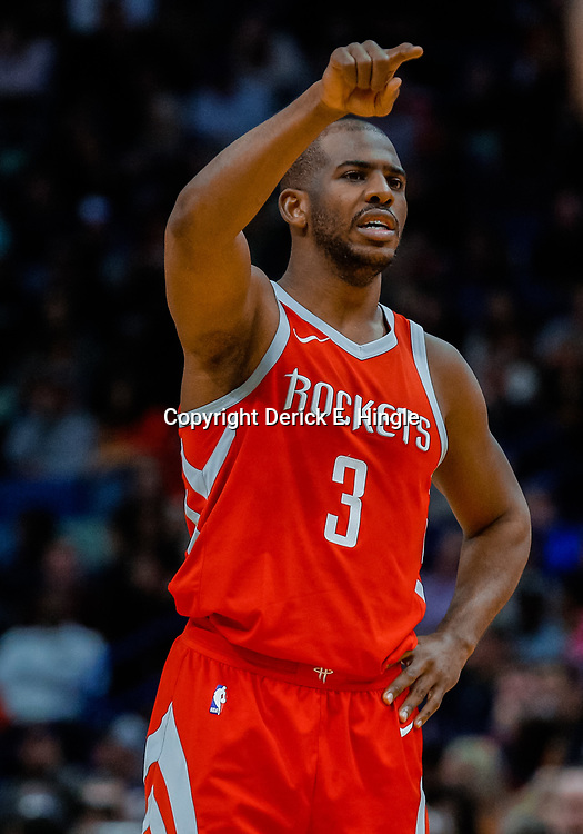 Jan 26, 2018; New Orleans, LA, USA; Houston Rockets guard Chris Paul (3) against the New Orleans Pelicans during the second quarter at the Smoothie King Center. Mandatory Credit: Derick E. Hingle-USA TODAY Sports