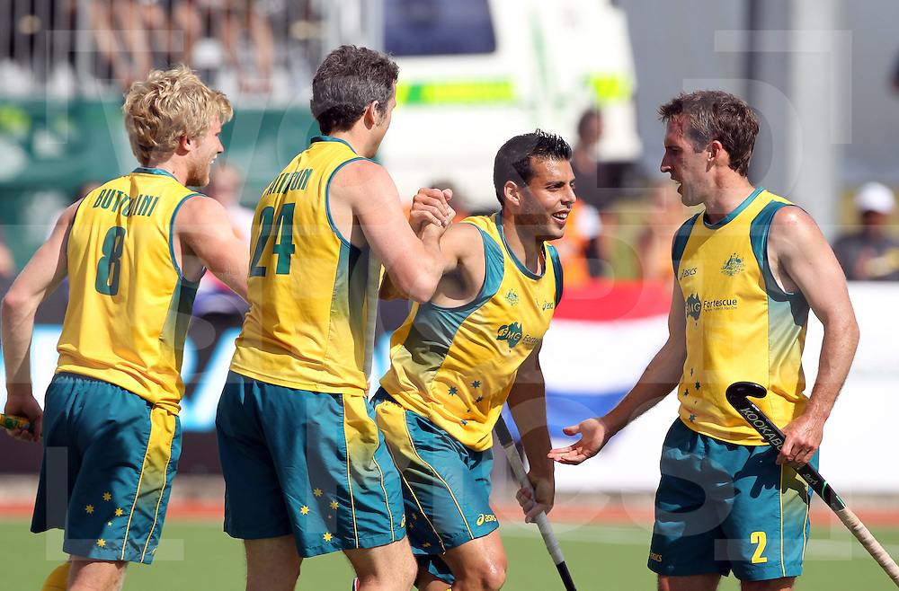 Champions Trophy, New Zealand 2011.8/12/2011 Day 4 Netherlands v Australia.Australia celebrate a goal from Chris Ciriello