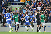 Brighton and Hove Albion forward Tomer Hemed (10) celebrates his goal 3-0 during the Premier League match between Brighton and Hove Albion and West Bromwich Albion at the American Express Community Stadium, Brighton and Hove, England on 9 September 2017. Photo by Phil Duncan.