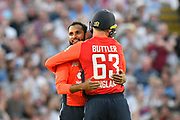 Wicket - Adil Rashid of England celebrates taking the wicket of Aaron Finch of Australia with Jos Buttler of England during the International T20 match between England and Australia at Edgbaston, Birmingham, United Kingdom on 27 June 2018. Picture by Graham Hunt.