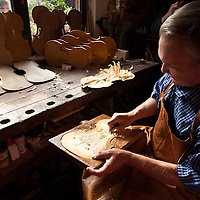 Jan Nemcek making violins in his workshop in Kovacica, Serbia.