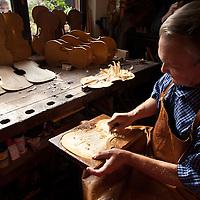 Jan Nemcek making violins in his workshop in Kovacica, Serbia.