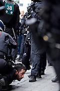 Frankfurt am Main   11 Apr 2015<br /> <br /> Am Samstag (11.04.2015) demonstrierten etwa 35 Personen der Gruppe &quot;Freie B&uuml;rger f&uuml;r Deutschland&quot; (FBfD, ex PEGIDA) auf dem Rossmarkt in Frankfurt am Main gegen &quot;Islamisierung&quot;, ihre Redebeitr&auml;ge gingen in dem Geschrei der etwa 800 Gegendemonstranten unter.<br /> Hier: Ein Gegendemonstrant wurde von der Polizei festgenommen und zu Boden gebracht.<br /> <br /> &copy;peter-juelich.com<br /> <br /> [Foto honorarpflichtig   No Model Release   No Property Release]