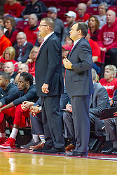 NORMAL, IL - February 16:  Brian Wardle and Mike Bargen during a college basketball game between the ISU Redbirds and the Bradley Braves on February 16 2019 at Redbird Arena in Normal, IL. (Photo by Alan Look)