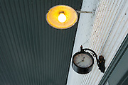 Old lamp fixture with antique clock