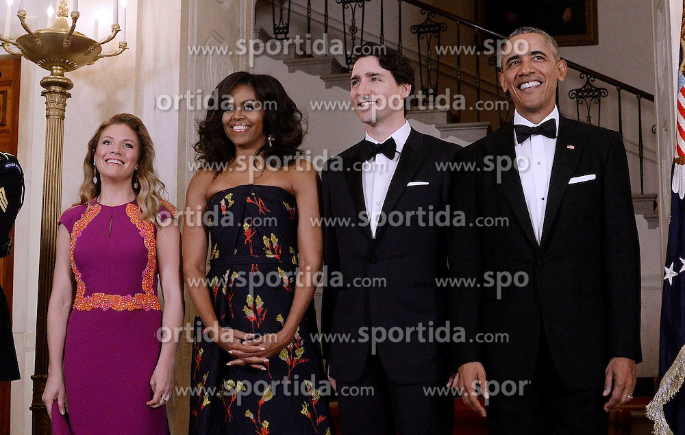 United States President Barack Obama, right, First Lady Michelle Obama, left center, and Prime Minister Justin Trudeau of Canada, right center, and and Mrs. Sophie Gr&eacute;goire Trudeau, left, pose for the official photo on the Grand Staircase of the White House March 10, 2016 in Washington,D.C. EXPA Pictures &copy; 2016, PhotoCredit: EXPA/ Photoshot/ Olivier Douliery<br /> <br /> *****ATTENTION - for AUT, SLO, CRO, SRB, BIH, MAZ, SUI only*****