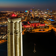 Kansas City Liberty Memorial and Union Station drone aerial view at dusk