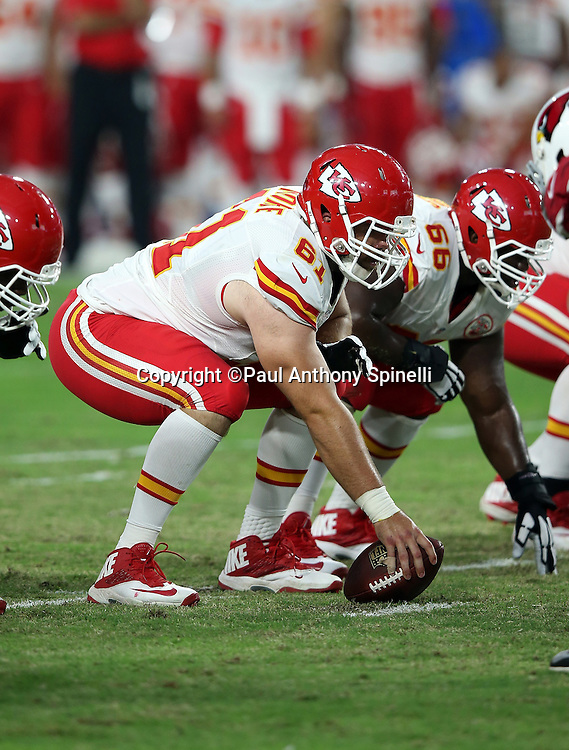 Kansas City Chiefs center Mitch Morse (61) gets set to snap the ball during the 2015 NFL preseason football game against the Arizona Cardinals on Saturday, Aug. 15, 2015 in Glendale, Ariz. The Chiefs won the game 34-19. (©Paul Anthony Spinelli)
