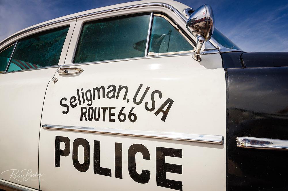 Police car on historic Route 66, Seligman, Arizona USA